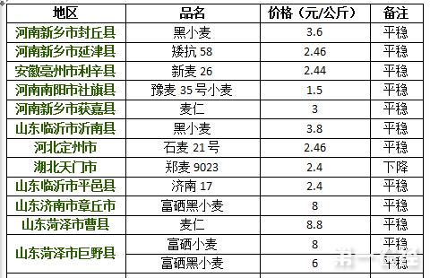 2017年8月16日小麦价格行情