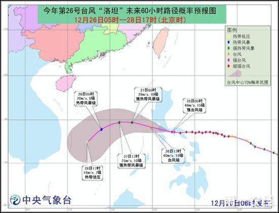 """今年第26号台风""""洛坦""""未来路径概率预报图"""