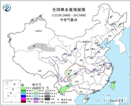 全国降水量预报图(12月28日08时-29日08时)