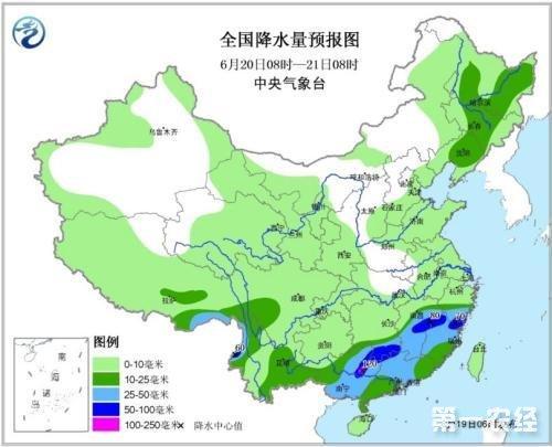 6月20-22日全国天气:华北东北多雷阵雨 江南华南将有较强降雨