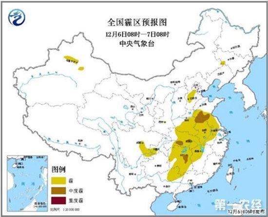 淮中、江淮、江汉、江南中西部等地有霾 全国无明显降水