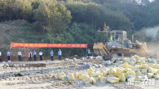 广西西林公开销毁50余吨劣质农资