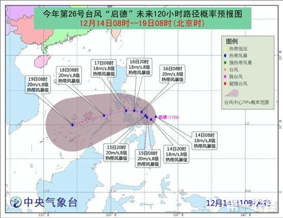 """中央气象台发布台风预报 第26号台风""""启德""""生成"""