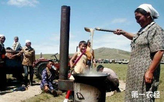 蒙古族饮茶习俗:砖茶打碎加盐与牛奶同煮
