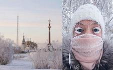 俄罗斯西伯利亚一村庄迎来-67度极寒天气 睫毛也能结出霜