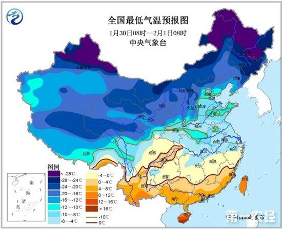 中央气象台继续发布寒潮蓝色预警  中东部地区气温持续偏低