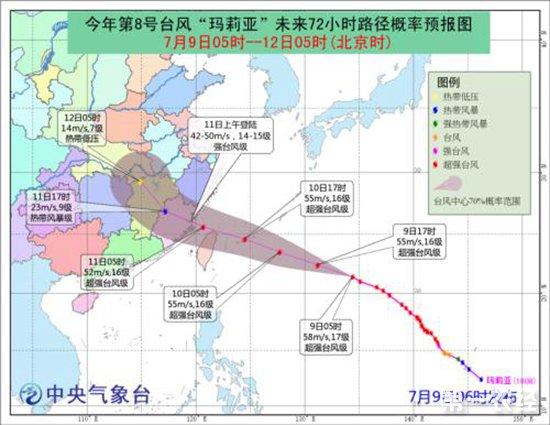 """第8号台风""""玛莉亚""""来袭 未来三天全国天气预报"""