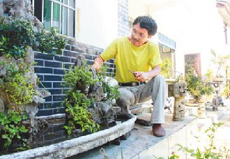 <b>重庆万盛:霍玉华专心研究盆景 带上村民走上致富路</b>